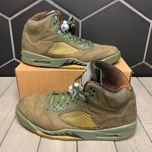 Used Retro Air Jordan 5 Olive Orange Shoe Sz 14